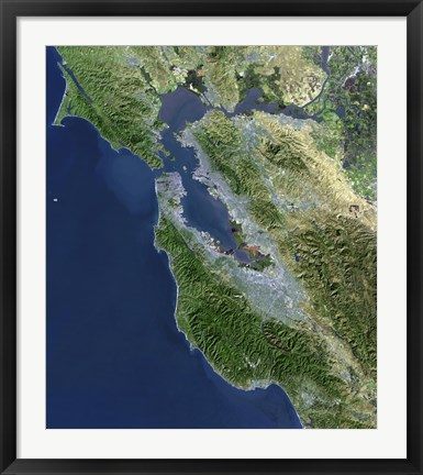 Framed Satellite view of San Francisco, California Print