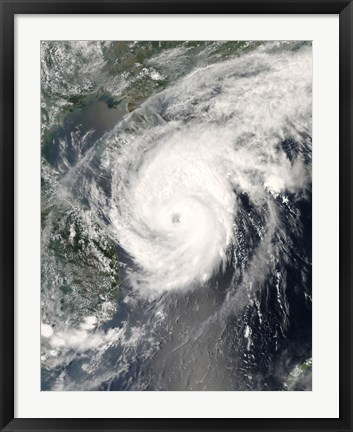 Framed Typhoon Neoguri approaching China Print