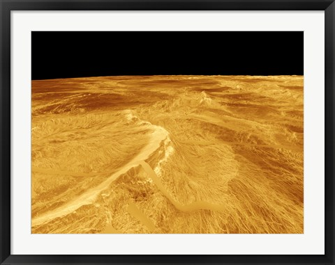 Framed 3D Perspective View of Latona Vorona and Dali Chasma on Venus Print