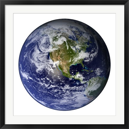 Framed Full Earth Showing North America (white background) Print