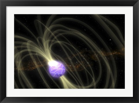 Framed Artist Conception of the SGR 1806-20 Magnetar Including Magnetic Field Lines Print