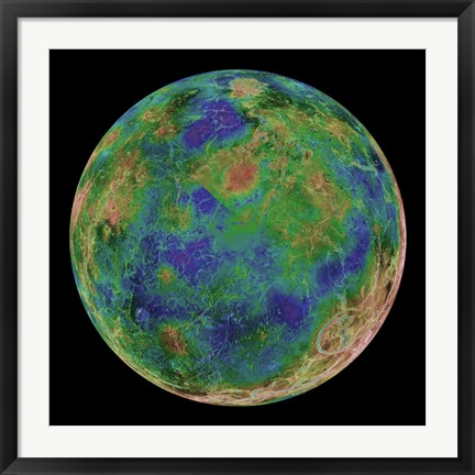 Framed Venus Centered on the South Pole Print