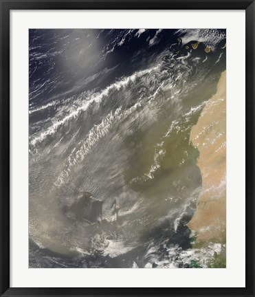 Framed Dust storm off West Africa Print