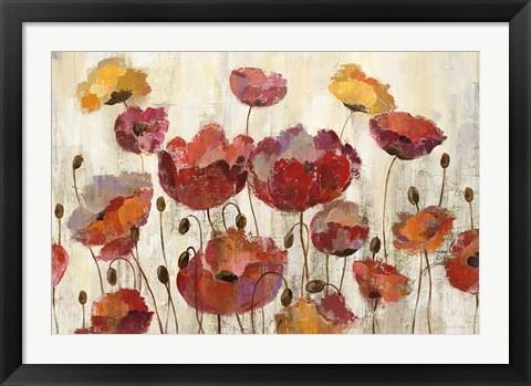 Framed Poppies in the Rain Print