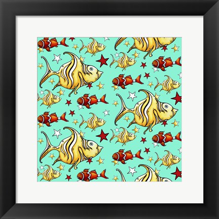Framed Yellow Angel Fish And Clownfish - Teal Print