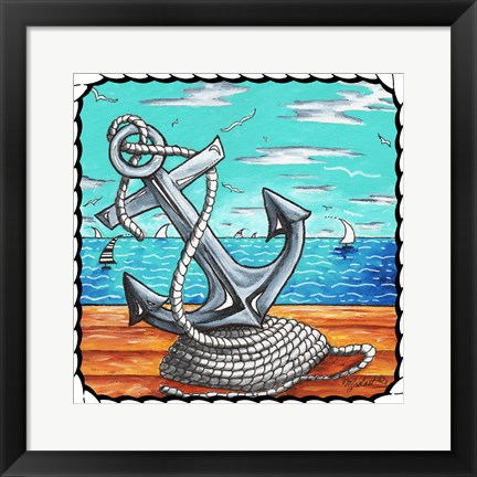 Framed Anchors Away Rope Print