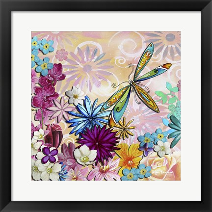 Framed Aqua Brown Background Floral II Print