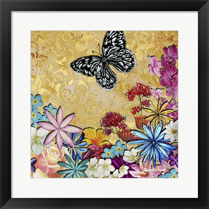 Framed Whimsical Floral Collage 4-2 Print