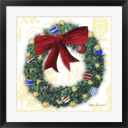 Framed Pine Wreath With Red Ribbon Print