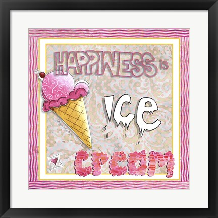Framed Happiness Is Ice Cream Print