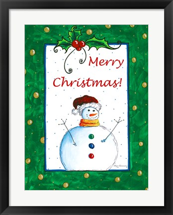 Framed Merry Christmas Snowman Print