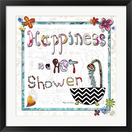 Framed Happiness Is A Hot Shower Print