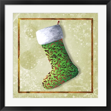Framed Vintage Stocking 2 Print