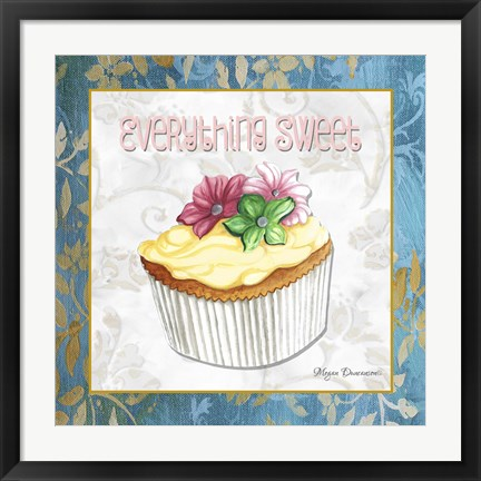 Framed Everything Sweet Vanilla Cupcake Print