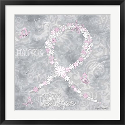 Framed Pink Ribbon 2 Print