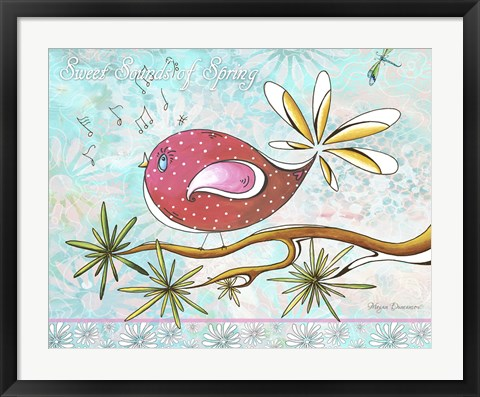 Framed Pink Brown Bird With Notes And Branch - Full Design Print