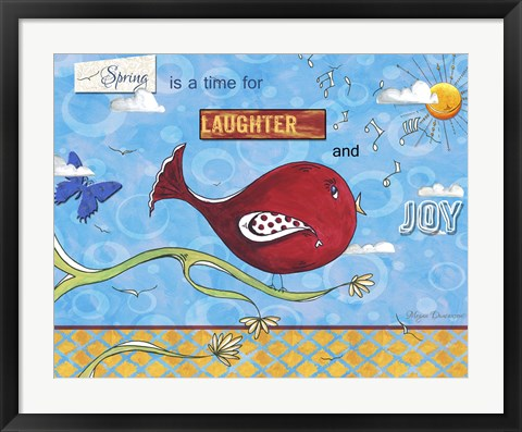 Framed Red Bird  With Branch Notes Clouds - Full Design Print