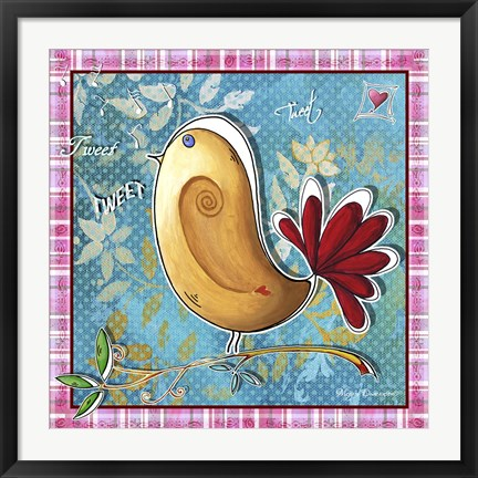 Framed Tan And Red Bird Print