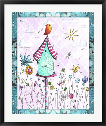 Framed Bird House 2 Print