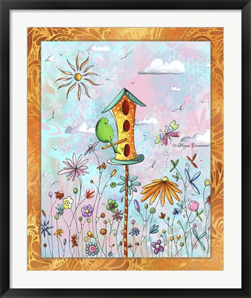 Framed Bird House 3 Print