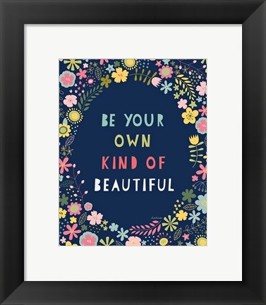 Framed Floral Quote IV Indigo Print
