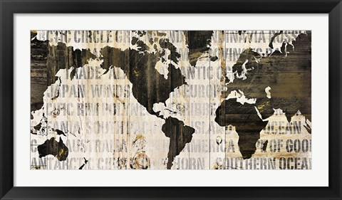 Framed Crate World Map Neutral Print