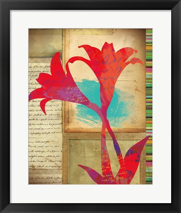 Framed Floral Notes II Print