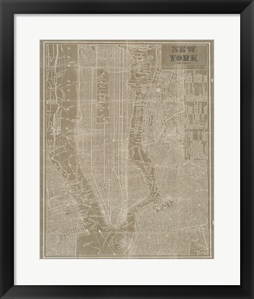 Framed Blueprint Map New York Taupe Print