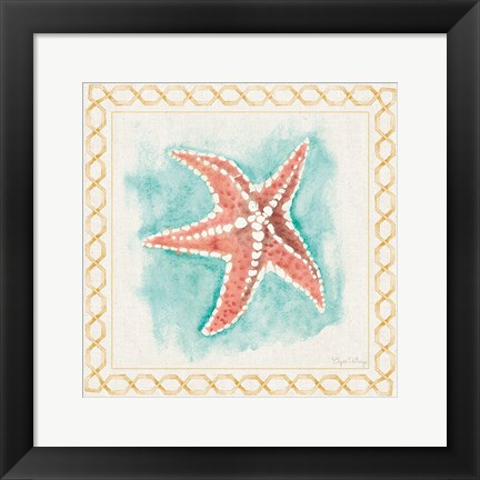 Framed Coastal Mist Starfish Border Turquoise Print