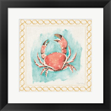 Framed Coastal Mist Crab Border Turquoise Print