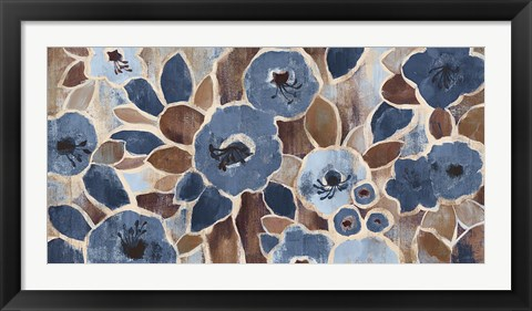 Framed Contemporary Tapestry Blue Print
