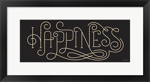Framed Curly Script Happiness Thick Print