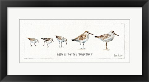 Framed Pebbles and Sandpipers I Print