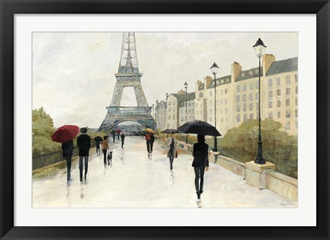 Framed Eiffel in the Rain Marsala Umbrella Print