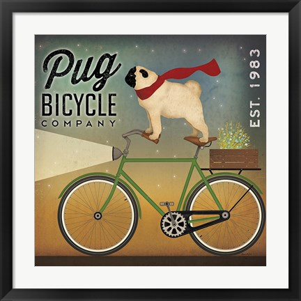 Framed Pug on a Bike Print