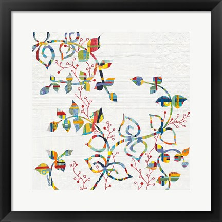 Framed Rainbow Vines with Berries Print