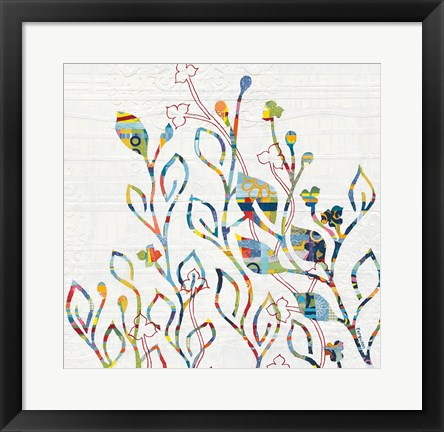 Framed Rainbow Vines with Flowers Print