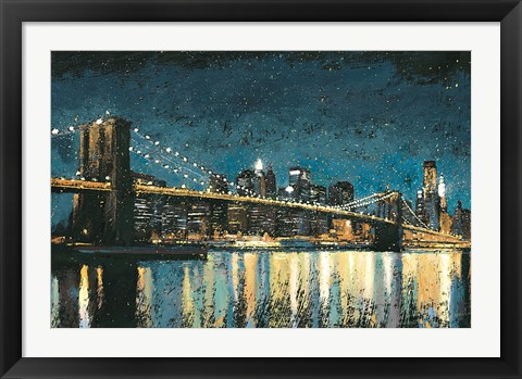 Framed Bright City Lights Blue I Print