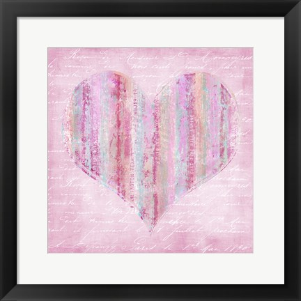 Framed Striped Pink Heart Print