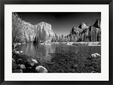 Framed California Yosemite Valley view from the bank of Merced River Print