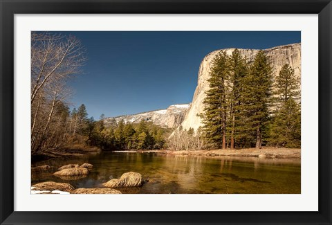 Framed El Capitan towers over Merced River, Yosemite, California Print