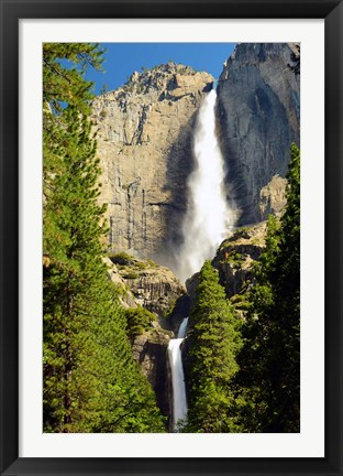Framed Upper and Lower Yosemite Falls, Merced River, Yosemite NP, California Print