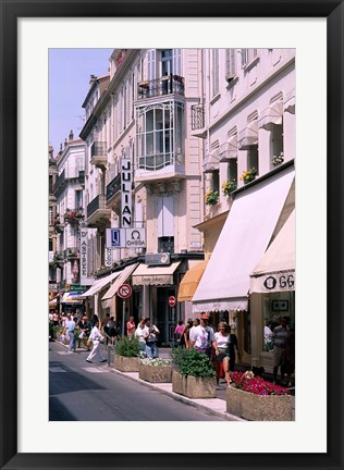 Framed Shopping Scenic, Cannes, France Print