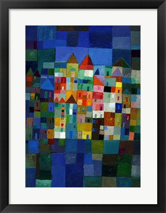 Framed Block Town at Night Print