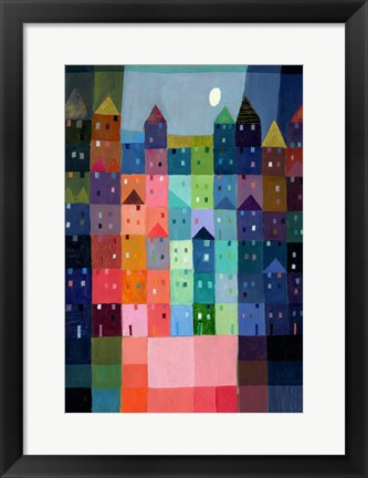 Framed Block Town at Dusk Print