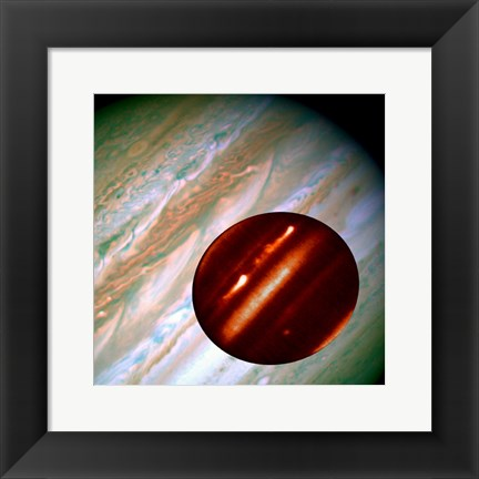 Framed Hubble/IRTF Composite Image of Jupiter Storms Print