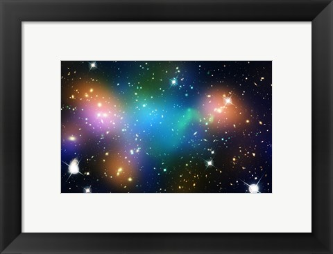 Framed Galaxy Cluster Abell 520 (HST-CFHT-CXO Composite) Print