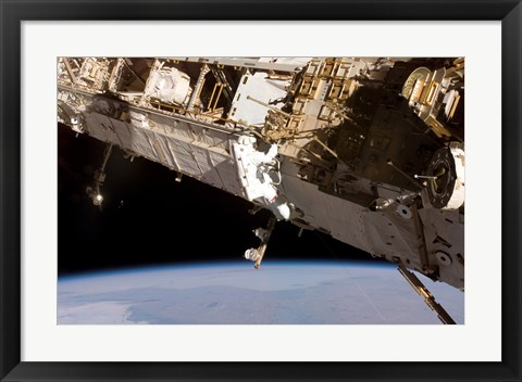 Framed Astronaut Participates in Extravehicular Activity on the International Space Station Print