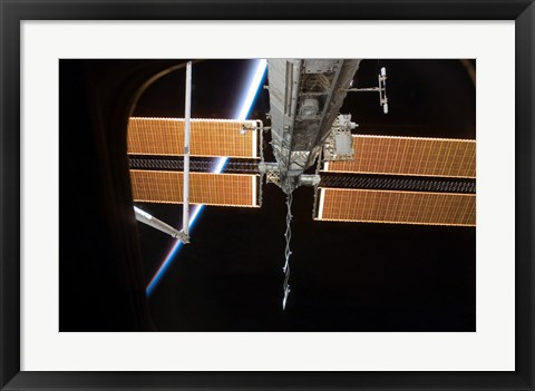 Framed International Space Station Backdropped by the Airglow Above Earth's Horizon Print