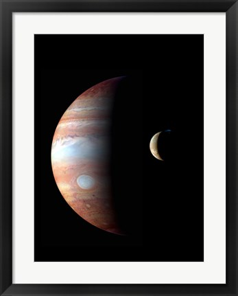 Framed Jupiter and its Volcanic Moon Lo Print